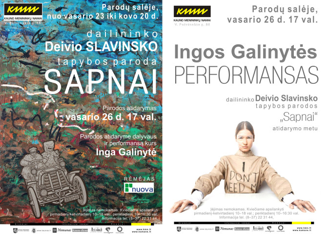 "Deivis Slavinskas's solo exhibition ""Dreams"" and Inga Galinytė's performance ""Please be perfect"", 2015"