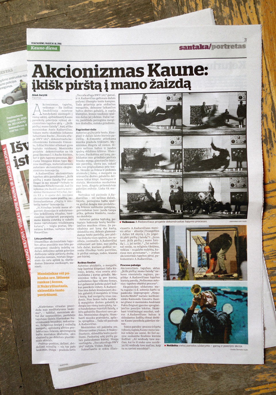 "My photos in Kaunas main newspaper ""Kauno Diena"" (18 Sep 2015)"