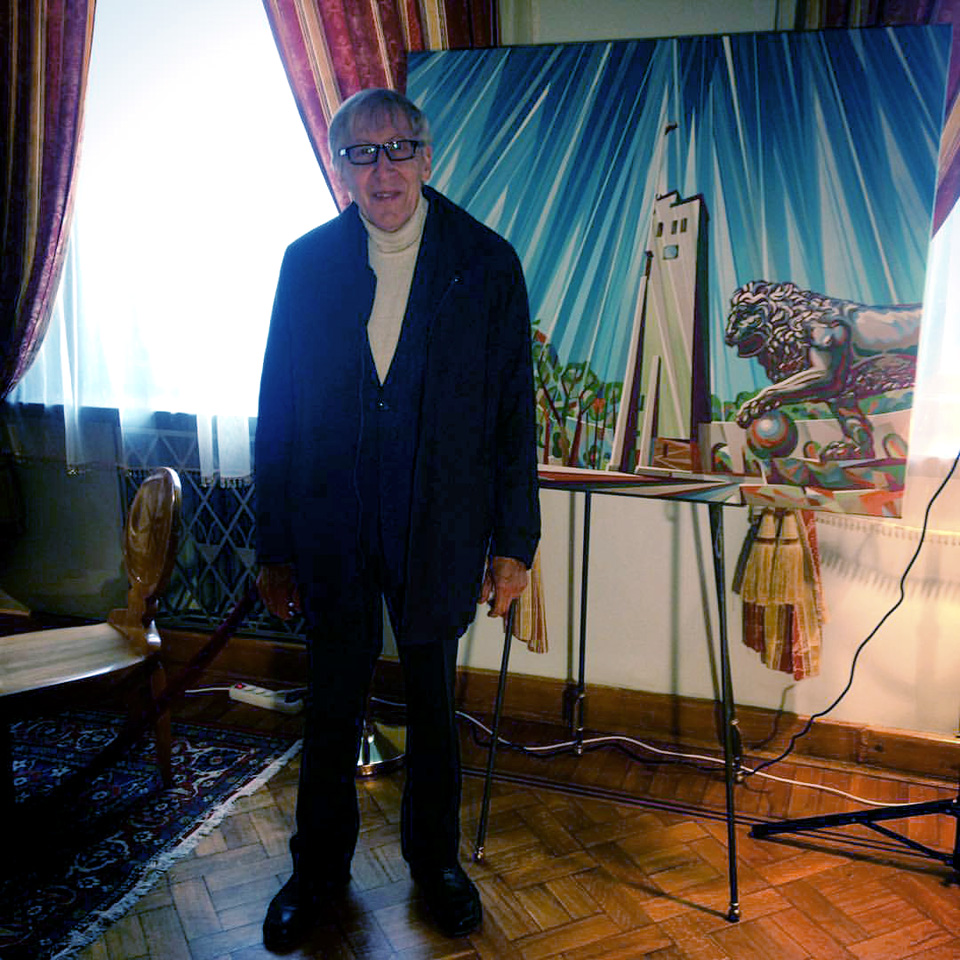 "Giedrius Kuprevičius, the grand maestro of bell music, at my painting ""The Sounds of Bells"" (4 Oct 2015)"