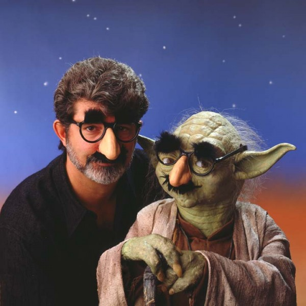 George Lucas & Yoda pose with The Nose, 1989